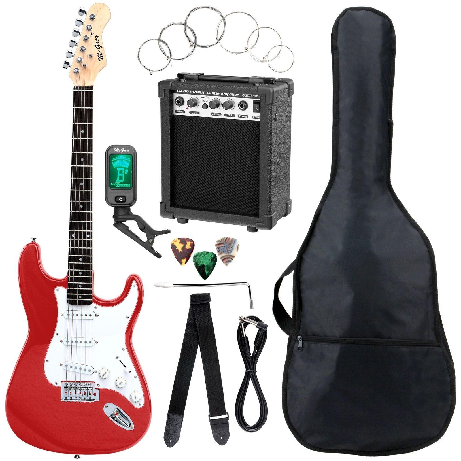 E-Gitarre Komplett Set Verstärker Stimmgerät Tuner Gigbag Tasche rot Fiesta ROT