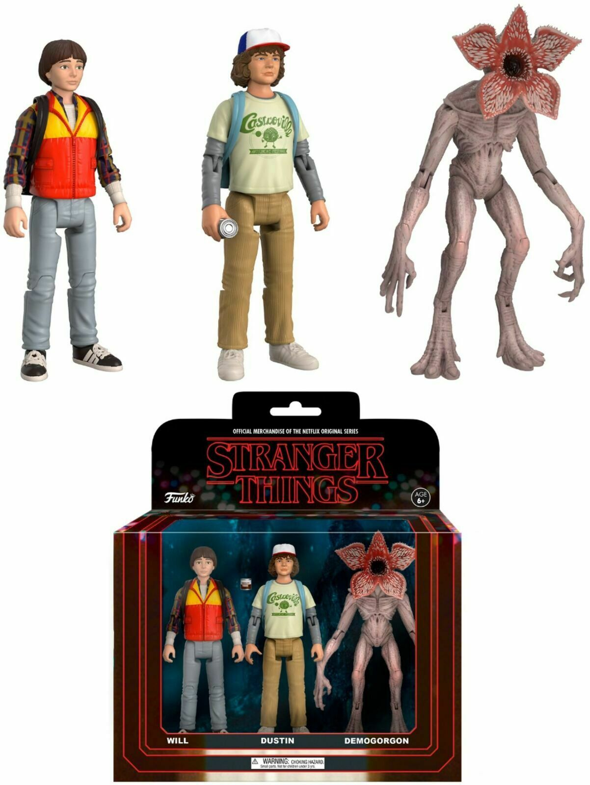 Stranger Things NETFLIX 3PK Will, Dustin and Demogorgon Verpackung 2 Funko 8345 NIB