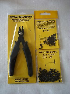 TRACE MAKING KIT 100 MINI CRIMPS AND 100 5mm RIG BEADS MINI CRIMPING PLIERS