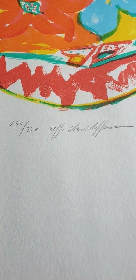 Litografi, Uffe Christoffersen, motiv: Blomster