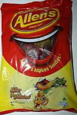 Allens Lollies Killer Pythons 1kg Bulk Bag
