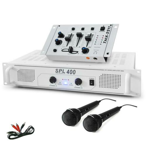 SISTEMA DJ PA AMPLIFICATORE FINALE 1200W MIXER PRO 2 MICROFONI KIT CAVI KARAOKE
