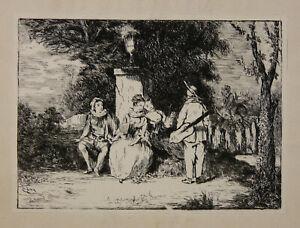 """Ancienne Eau-forte Signée """"géry"""" Dans La Planche Romantisme"""