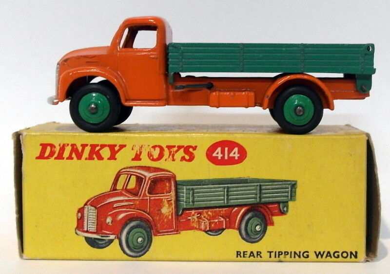 Vintage Dinky 414 - Rear Tipping Wagon - orange Green