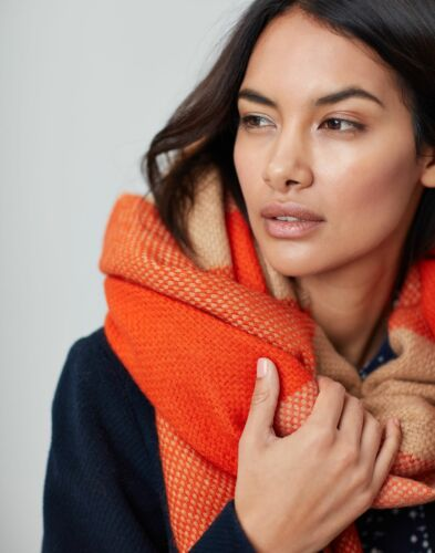 Joules Womens Meadow Basket Weave Scarf One Size Orange Check