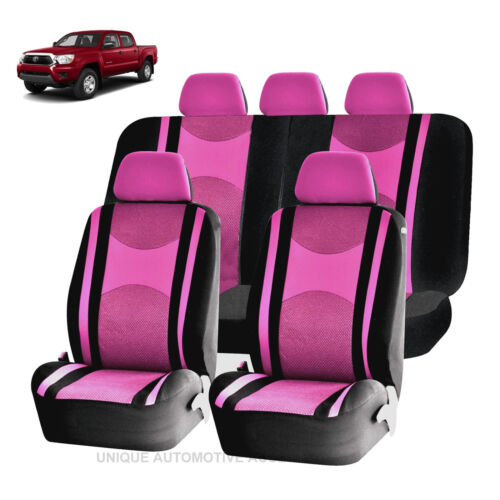 PINK /& BK HONEYCOMB MESH SPLIT BENCH SEAT COVER SET FOR TRUCKS 1249