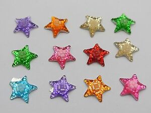 100-Mixed-Color-Flatback-Resin-Star-Cabochons-12mm-Flower-inside-Embellishments