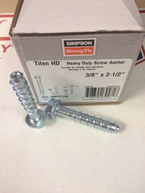 THD37212H 3//8 x 2 1//2 Titen HD Mini Screw Anchors 50//pk