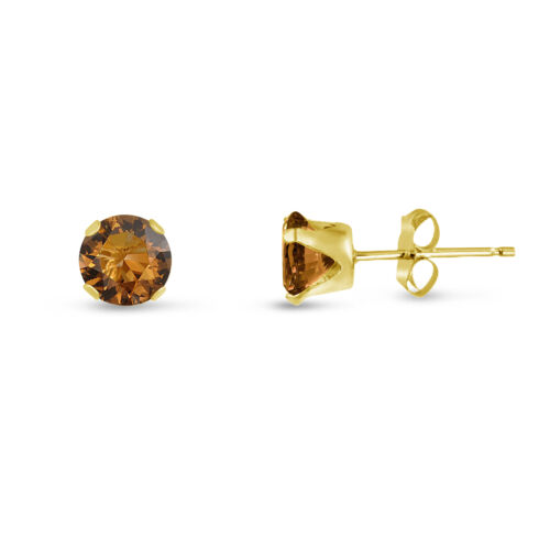 Choose a Size Yellow Gold Plated Silver Round Coffee Brown CZ Stud Earrings