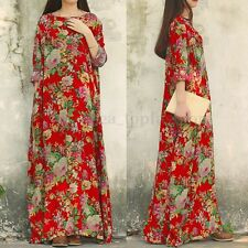 Casual Plus Size Loose Fit Maxi 100 Cotton Womens Long Floral ...