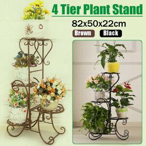 23c493b44ce1 4 Tier Metal Shelves Flower Pot Plant Stand Display Indoor Outdoor ...