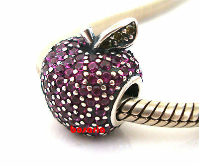 925 Sterling Silver Apple Pave Fancy Purple CZ Fit European Charm Bracelet