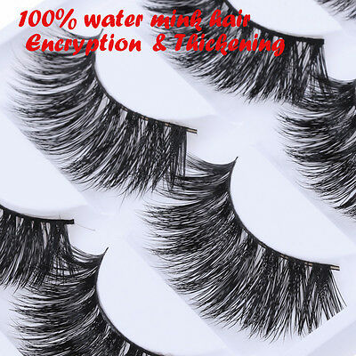5Pairs100% Mink Hair Long Thickening False Eyelashes Lashes Makeup Extend HOT