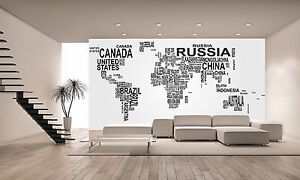 World Map with Country Name Wall Mural Photo Wallpaper GIANT DECOR ...