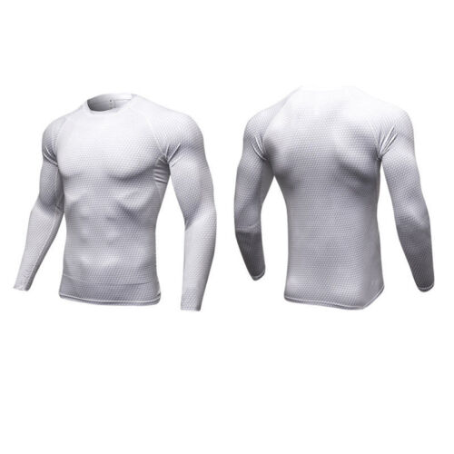 Compression Mens Long Sleeves Top Shirt Base Layer Thermal Sport Gym Cycling Top