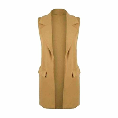 Womens Sleeveless Celeb Long Duster Coat Womens Waistcoat Blazer Cardigan Tops