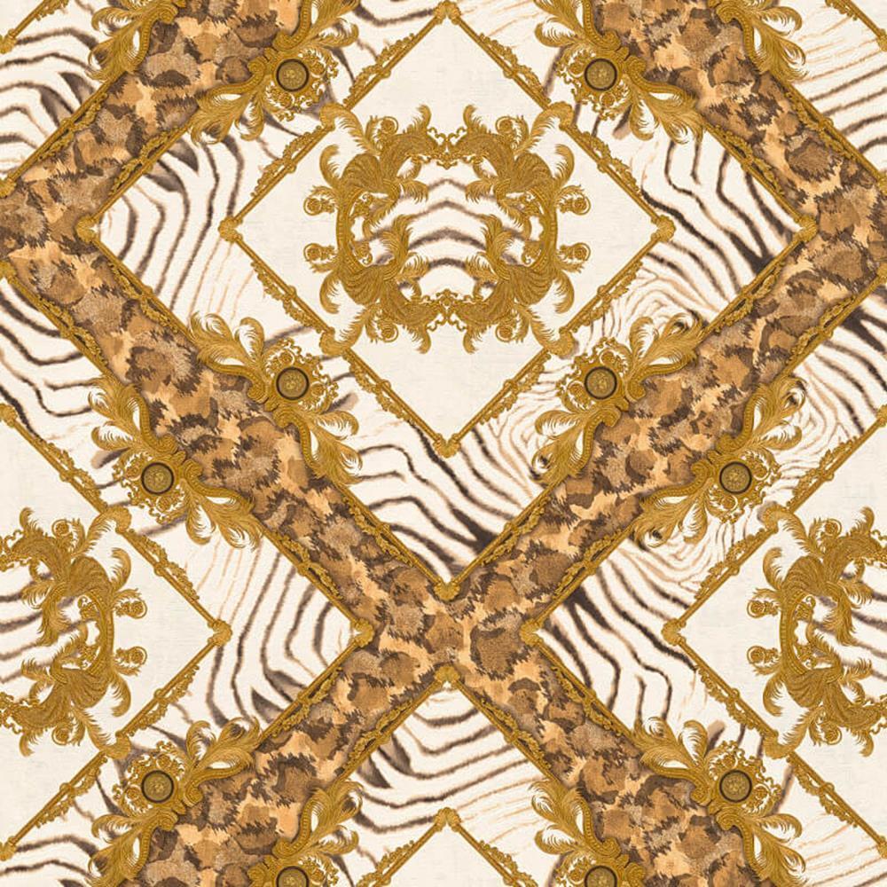 349043 - Versace Ornament Zebra Brown gold AS Creation Wallpaper