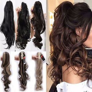 US-100-Real-Thick-New-Clip-In-Hair-Extension-Pony-Tail-Claw-Around-Ponytail
