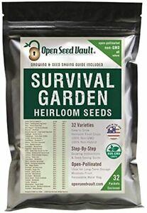 32 Variety Pack Survival Garden Heirloom Vegetable Seeds 15,000 Non GMO - SEALED