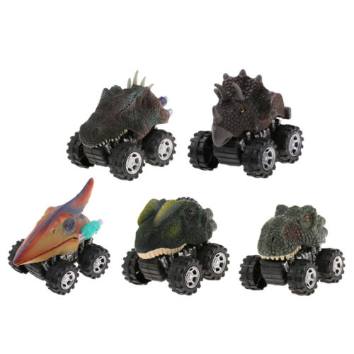 5pcs Vivid Dinosaurs Figures Model Pull Back Cars Jurassic Toy Kids Fun Gift