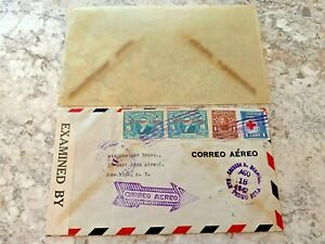 Vintage Postage Envelope 1942 - Egypt to New York City - Rare Marks/Stamps