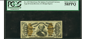 Fr-1339-50-Third-Issue-Spinner-Type-II-PCGS-Choice-About-New-58PPQ
