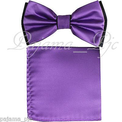 New Men/'s Microfiber Pre-tied Bow Tie /& Pocket Square Hankie Lavender Black Dots