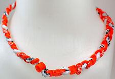 "NEW! 20"" Custom Clasp Braided Sports Orange White Hot Neon Tornado Necklace"