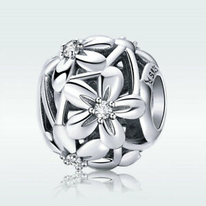 Hollow-Flower-S925-Sterling-Silver-Bead-CZ-Charm-For-Girl-Bracelet-Chain-Jewelry
