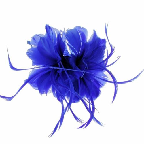 e7204blu Geneva Feather Fascinator on Band in Blue