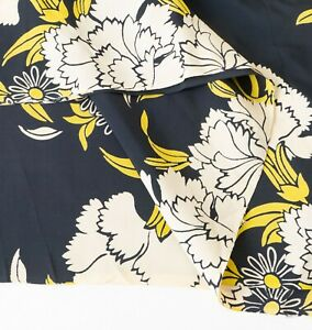 True-Vintage-1940s-Silky-Rayon-Black-Yellow-amp-White-40-034-x-57-034-Cool-Handfeel