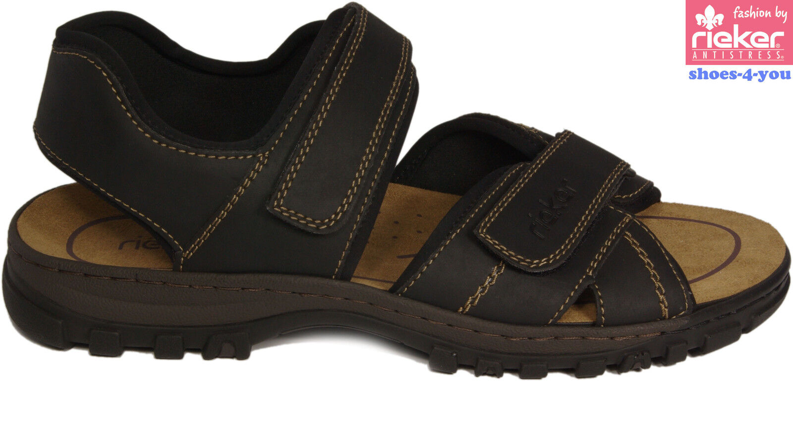 RIEKER Schuhe Sandale Freizeitsandalen Trekking schwarz Klettverschluss NEU