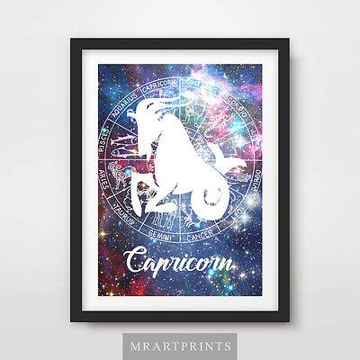 CAPRICORN ZODIAC STAR SIGN Art Print Poster Astrology Spiritual Decor Birthday