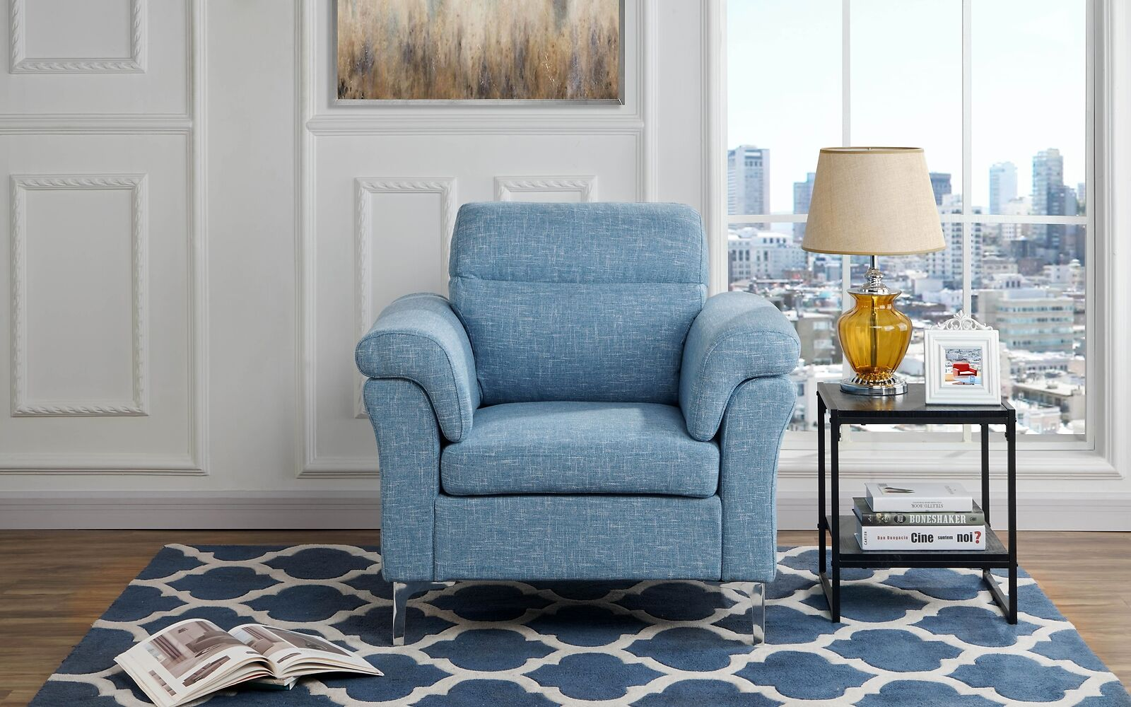 Contemporary Living Room/Family Room Fabric Armchair, Accent Chair (Light  Blue)