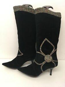 Flor-de-ante-para-mujer-Miss-Sixty-Negro-Detalle-Tacon-Botas-Zapatos-UK-4-EU-37