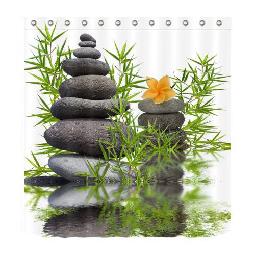 Details about  /Spa Zen Stones Rocks Green Leaves Shower Curtain Bathroom Mat Waterproof Fabric