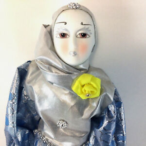 "Pierrot Clown Porcelain 14"" Doll Shiny Silver & Blue Clothing w Yellow Rose NIB."