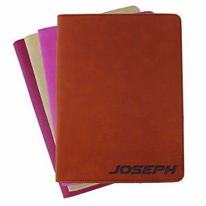 Details About Custom Engraved Leather Zipper Portfolio Personalized Business Padfolio Holder