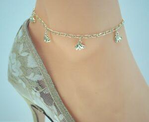 Image Is Loading Gold Elephant Charms 14ktgold Clad Bonded Anklet Ankle