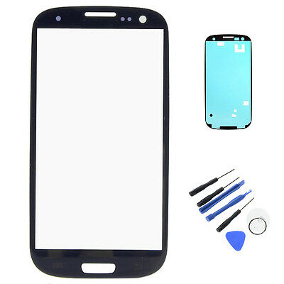Display Touch Screen Glass Lens+Adhesive For Samsung Galaxy S3 i9300 I747 Blue