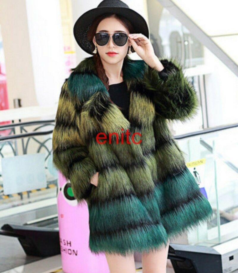 New Synthetic Fur Multi-color Lapel Womens Parka Coat Overcoat Party Party Party Fashion New ad88f9