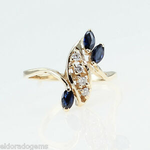 HIGH-END-0-50-CT-SAPPHIRE-amp-DIAMOND-LADY-S-COCKTAIL-RING-14K-YELLOW-GOLD-US6