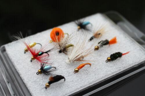 12 pcs//lot assorted Beadhead Egg Nymph Dry Fly Fishing Flies Lures Set