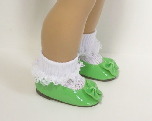 """LIME GREEN Patent Slip On Flats w//Bow Doll Shoes For 18/"""" American Girl Debs"""