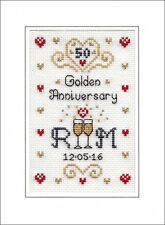 50th Golden Wedding Anniversary cross stitch card kit