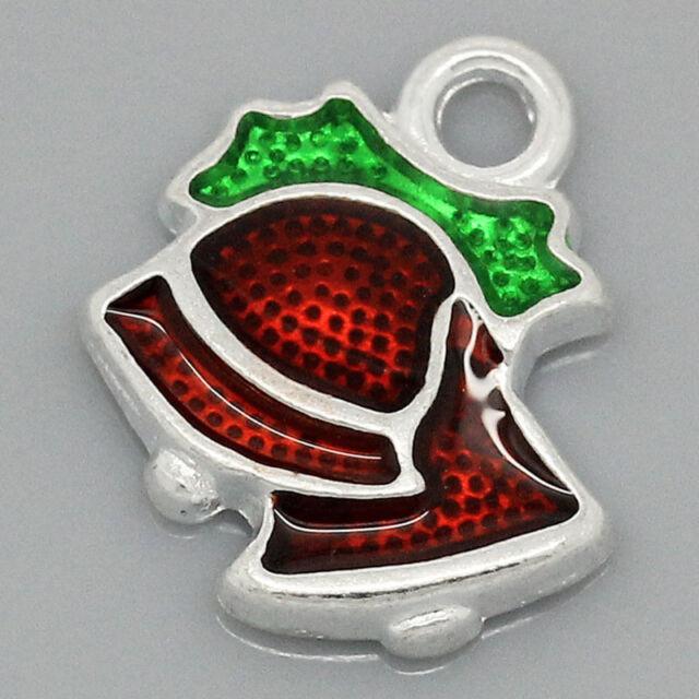"HELLO 10  Charm Pendants Enamel Christmas Bell Silver  15mmx13mm(5/8""x4/8"")"