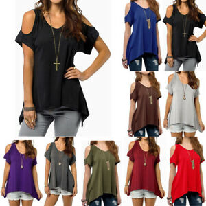 Women-Beach-Off-shoulder-Blouse-T-Shirts-Tops-Tee-Casual-Loose-Summer-Plus-Size