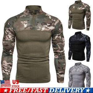 Hombres-Ejercito-Combate-Tacticas-Camiseta-Mangas-Largas-Fitness-Camuflaje-Militar-Camiseta