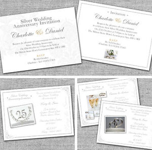 Image is loading Personalised-Silver-25th-Wedding-Anniversary-Invitations- Invites