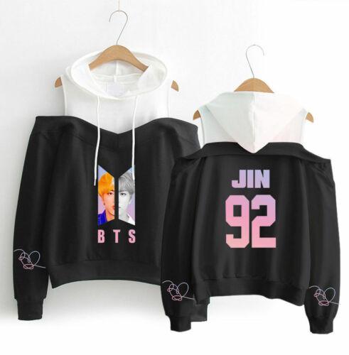 BTS KPOP Girls Off-Shoulder Hoodies Sweatshirts Long Sleeve Coats JUNGKOOK JIMIN